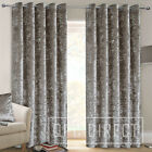 Pair of Luxury Plain Crushed Velvet Lined Eyelet Ring Top Curtains, Silver Grey