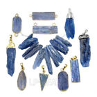 Blue Kyanite Natural Gemstone Crystal Point Healing Gold Pendant Connector Beads