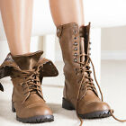 Army Chic Distressed Lace-up Fold-over Combat Bike Mid-Calf Boots Tan All Sz