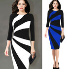 Womens Elegant Contrast 3/4 Sleeves Color-block Work Business Party Sheath Dress