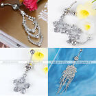 Stainless Steel Crystal Rhinestones Teardrop Belly Button Navel Ring Jewelry New