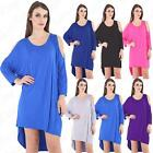 Womens Ladies Cold Cut Shoulder Batwing Sleeve Baggy Oversized T Shirt Top