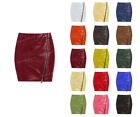 Luxury Genuine Leather Lady Front Diagonal Zip Office Lady Club Mini Skirt S36