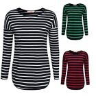 Women's Striped Color Block Round Neck Long Sleeve Curved Hem Top Blouse Casual