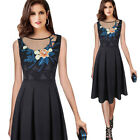 Women Elegant Vintage Embroidery Floral Mesh Party Cocktail Pleated A-line Dress
