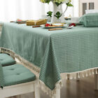 Cotton Blend Rectangle Round Tablecloth Dining Room Fringe Table Runner 3 Types