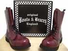 Limited Cherry Red Boots & Braces Rangers 10 Hole Steel Toe 12UK/13US/46EU