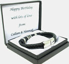 Mens Leather Bracelet Engraved Stainless Steel Clasp Personalised Birthday Gifts