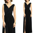 Womens Elegant Surplice Ruched High Slit Pleated Party Evening Gown Maxi Dress