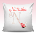 VINTAGE PINK INITIAL FLORAL PERSONALISED CUSTOM PILLOW CUSHION PRESENT GIFT