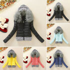 Winter Women's Casual slim Long Sleeve Fur Hooded coat Quilted Jacket Outwear