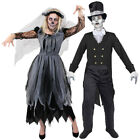 COUPLES GHOST BRIDE AND GROOM COSTUMES HALLOWEEN FANCY DRESS HIS HERS ZOMBIE