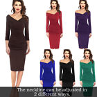 Womens Fall Winter Sexy Off Shoulder Ruched Work Party Cocktail Sheath Dress