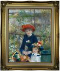 Renoir Two Sisters On the Terrace 1881 Framed Canvas Print Repro 16x20
