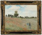 Monet Poppy Fields Framed Canvas Print Repro 16x20