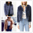 Women's Ostrich Feather Fur Turkey Coat Jackets Long Sleeve Warm Pretty Lady's
