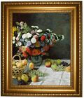 Monet Still Life with Flowers and Fruit 1869 Framed Canvas Print Repro 16x20