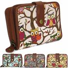 Small Canvas Owl Floral Women Purse Flap Over Ladies Wallet Zip Coin Compartment