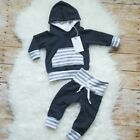 Striped Newborn Infant Baby Boys Hooded Tops Pants Leggings Outfits Set Clothes