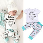 2PCs Set Newborn Baby Boys Girls Little dreamer Short Sleeve Tops+Pants Clothes