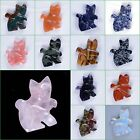 """45mm Hand carved gemstone cat pendant bead """"lot of choices"""""""