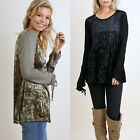 UMGEE Crushed Velvet Long Sleeve Casual Tunic Drawstring Wrists Black Olive S-L
