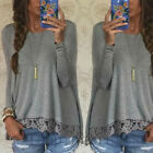 Women's Fashion Blouse Casual Long Sleeve Pullover Tops Lace Floral Loose Shirts