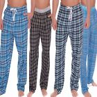 mens pyjama lounge pants trousers bottoms check  flannel or woven poly cotton