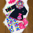 USA Kids Baby Girls Clothes Outfits T-shirt Tops Dress +Long Pants Leggings Set