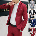 Mens Jacket Slim Fit Suit Coat One Button Blazer Formal Casual Outwear Tops Hot