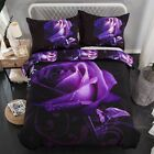 Purple Rose 3D Print Duvet Cover Pillow Case Double/King Quilt Cover Bedding Set