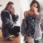 Women 100% Real Farm Ostrich Feather Fur long sleeve Coat Jacket Big Save