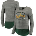 Green Bay Packers Outerstuff 17 Juniors Shirt Tail Layered Pullover T-Shirt