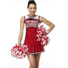 High School Cheering Squad Uniform Glee Cheerleader Fancy Dress Outfit 2 Pompoms