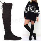 WOMENS LADIES BLACK SUEDE OVER KNEE THIGH HIGH LOW FLAT HEEL STRETCH BOOTS SIZE