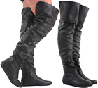 WOMENS LADIES BLACK OVER THE KNEE THIGH HIGH LOW FLAT HEEL STRETCH BOOTS SIZE
