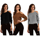 Women's Fashion Open Cold Shoulder Loose Kintted Sweater Top Long Sleeves 1Pc