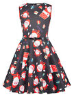 Summer Christmas Children Girls Sleeveless Round Neck Claus Santa Xmas Dress