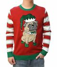 Ugly Christmas Sweater Men's 3D Party Pug Elf Hat With Bell Pullover Sweatshirt