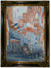 Hassam Avenue of the Allies New York 1917 Wood Framed Canvas Print Repro 19x28