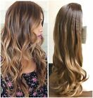 Ombre Half Head Wig Long Straight Curly Wavy Brown Blonde Black Grey Gift