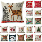 Christmas Cotton Linen Bed Sofa Waist Cushion Throw Pillow Case Cover Home Decor image