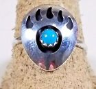 Vintage 1980's Sterling Silver and Turquoise Bear Claw Shadowbox Ring NavajoRings - 98500