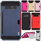 For Samsung Galaxy Note 8 Brushed NEST HYBRID CARD Kickstand Cover +Screen Guard