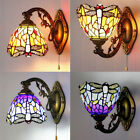 Tiffany Style Wall Sconce Single Lamp Stained Glass Dragonfly LED Wall Light