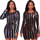Sexy Women Long Sleeves Sequins Splice Striped Bodycon Club Party Mini Dress