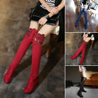 Ladies Winter Over The Knee Lace Thigh High Boots Low Heel Block Shoes Size 2018
