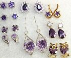 GORGEOUS SELECTION QUALITY AMETHYST GOLD PLATED EARRINGS LOVELY GIFT IDEA UK