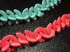 6x26MM  Blue / Pink Half moon Turkey Turquoise Gems Spacer Beads  T0205