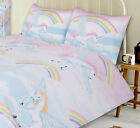UNICORN RAINBOW CLOUDS FLYING HORSE PINK BLUE YELLOW PURPLE BEDDING OR CURTAINS